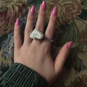 Jewelry - Heart Shaped Marble Stone Sterling Silver Ring